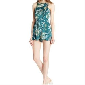 bb dakota | green square neck leaf print romper